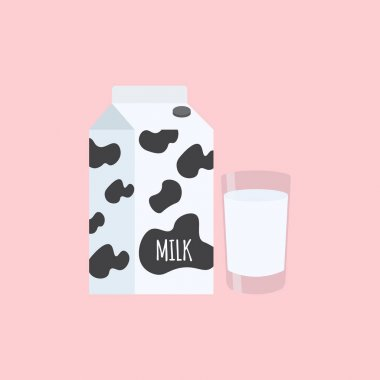 Dairy products: milk packing and a glass of milk on pink background. Vector illustration in cartoon flat style for your brand, logo, template, label, emblem for packaging, advertise. icon