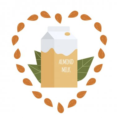 Almond milk in a paper pack. Lactose free vegan milk. Packaging. Vector hand drawn illustration in cartoon flat style. icon
