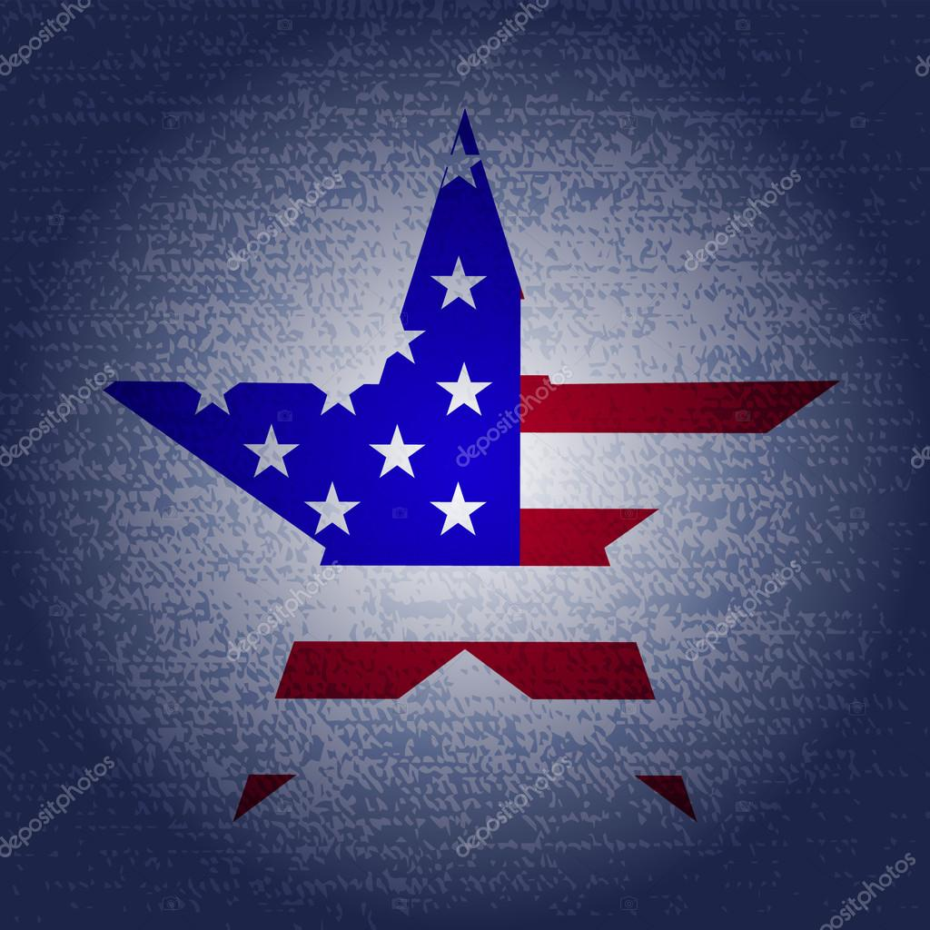 memorial day grunge background with star and usa flag