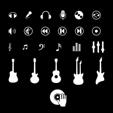 Illustration with music icons set