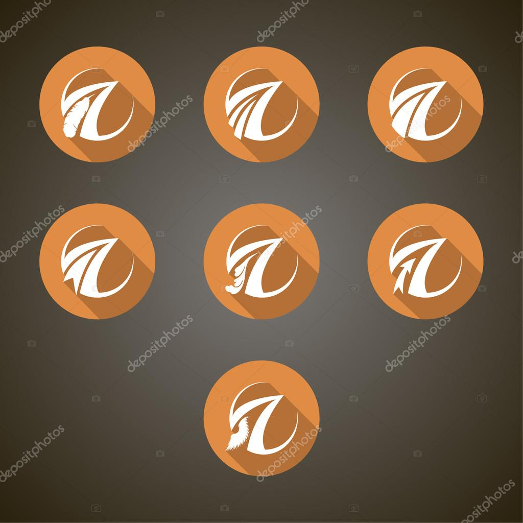Illustration with transport company logo set