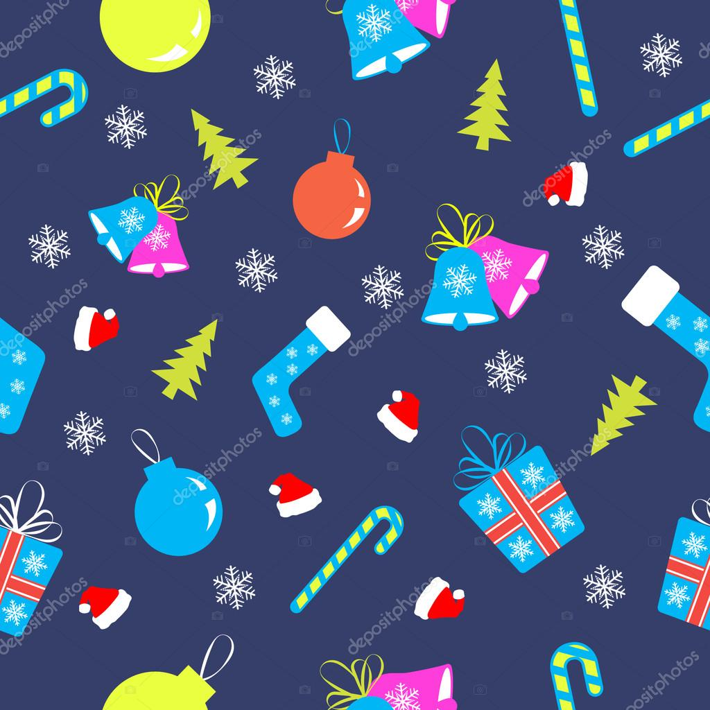 illustration with christmas tree, christmas sphere and  snowflakes pattern