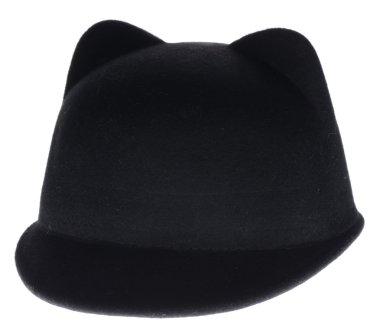 black felt hat on a white