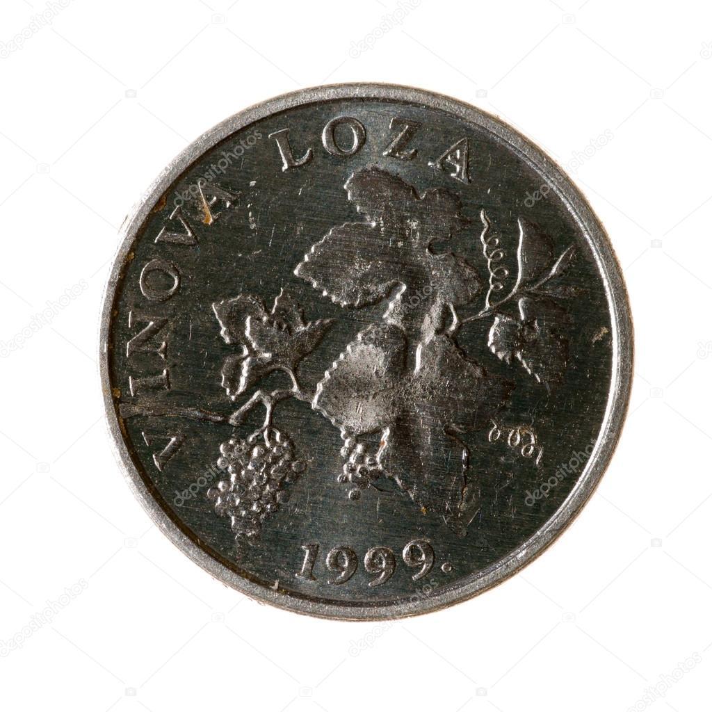Metall Münzen Zwei Linden Die Kroatien Auf Weißem Hintergrund