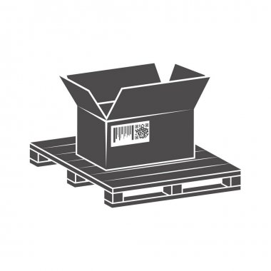 Shipping parcels in cardboard boxes, packed on pallet icon in flat style.Vector illustration. icon