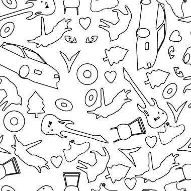 Seamless abstract background consisting of various objects, as well as animals in black and white for fabrics and packaging icon