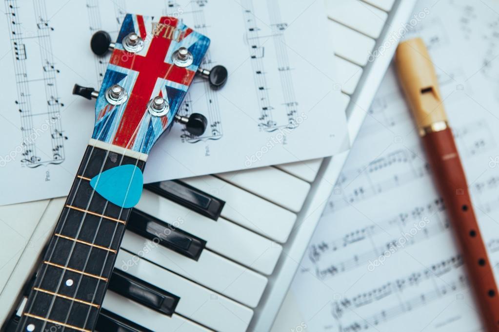 Ukulele, recorder and piano keys