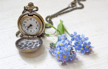 Retro pocket watch witch forget me nots