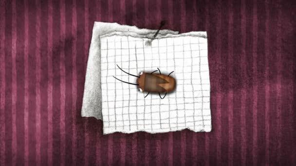 Auf Wiedersehen Hinweis und Kakerlake an der Wand — Stockvideo ...