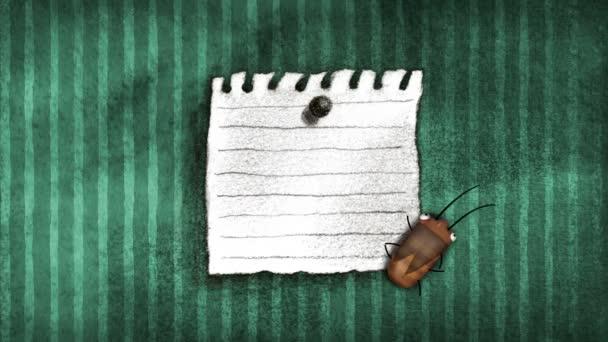 Buona fortuna nota e scarafaggio su una parete
