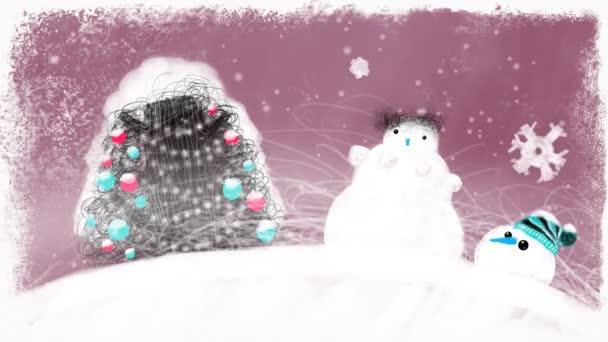 Ozdobený stromeček a sněhulák