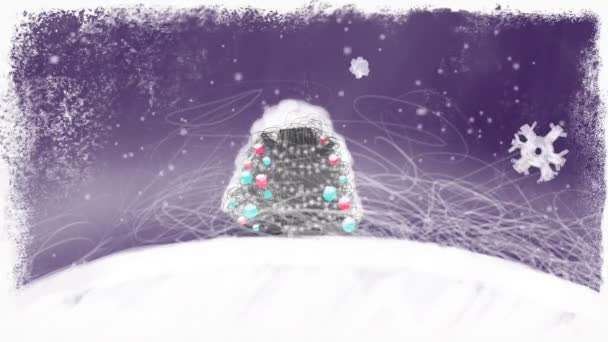 Vyzdobený vánoční strom v měsíční noci