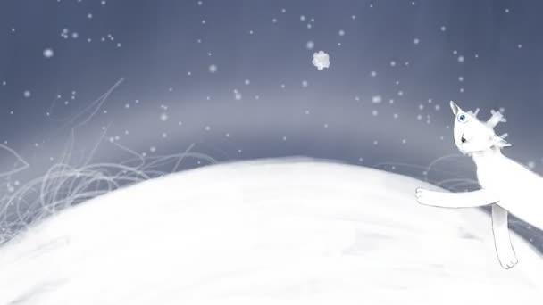 Bílá kočka v zimní noci