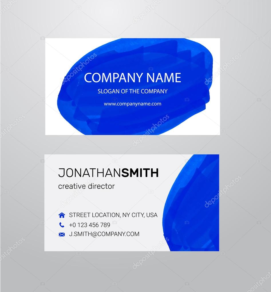 Twosided business card template blue paint strokes markers twosided business card template blue paint strokes markers vetores de stock reheart Gallery