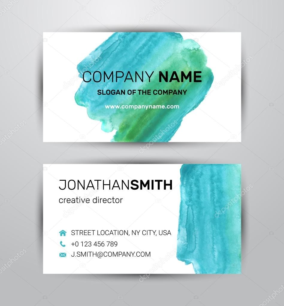 Two sided business card template. Green paint strokes markers ...