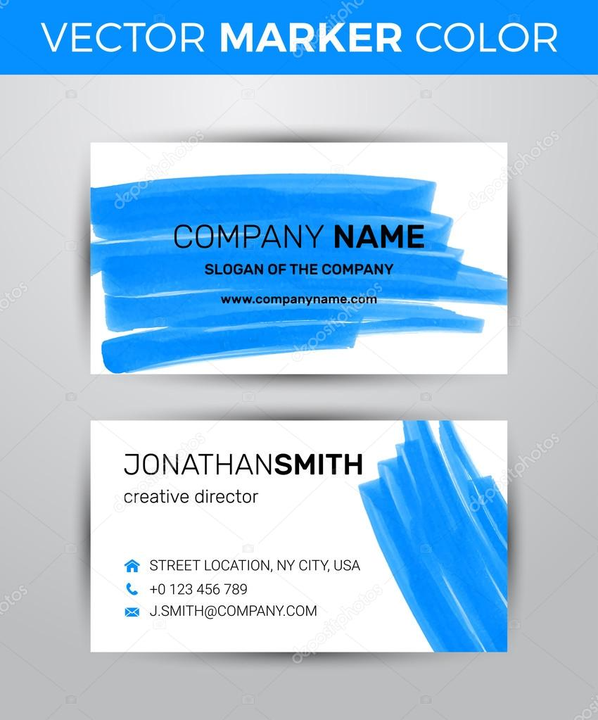 Two sided business card template. Black paint strokes markers ...