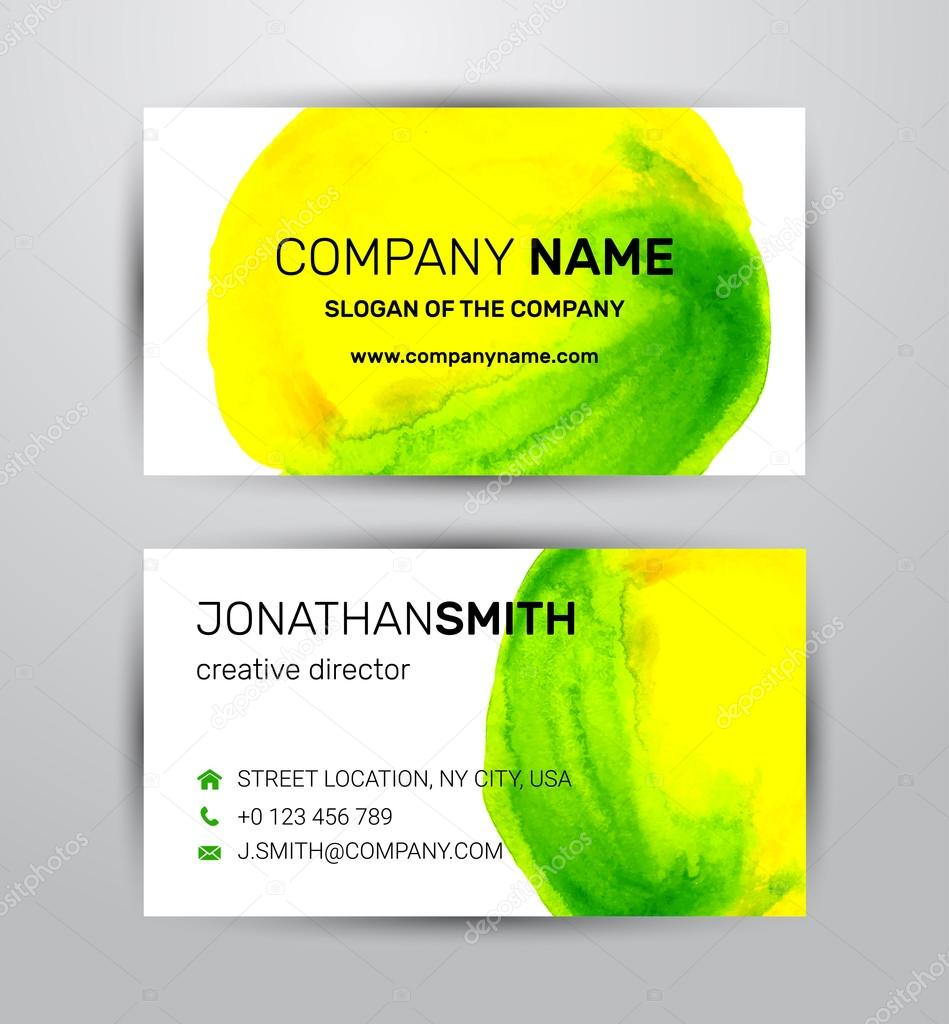 Two sided business card template green and yellow paint strokes two sided business card template green and yellow paint strokes watercolor vetores de stock reheart Gallery