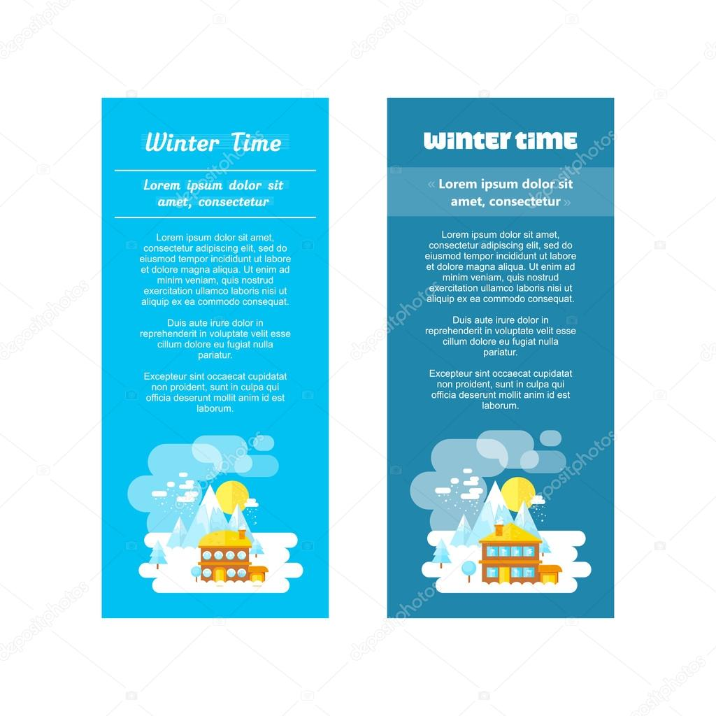 Flat set of winter landscapes. Ski resort and little house in mountains. Flat style: winter time in mountains. Set of banners for business.