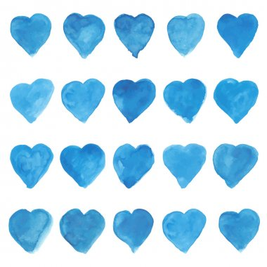 Set of blue watercolor love sweet hearts for greeting, valentines day card. Love watercolor hearts background. Love sweet heart shapes for greeting card. Set of love hearts. Love hearts retro pattern clip art vector