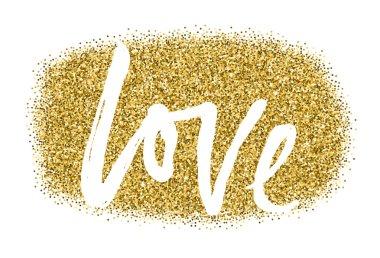 Gold sparkles on white background LOVE