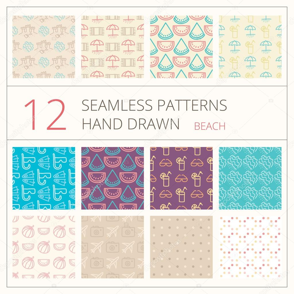 Collection of summer seamless patterns