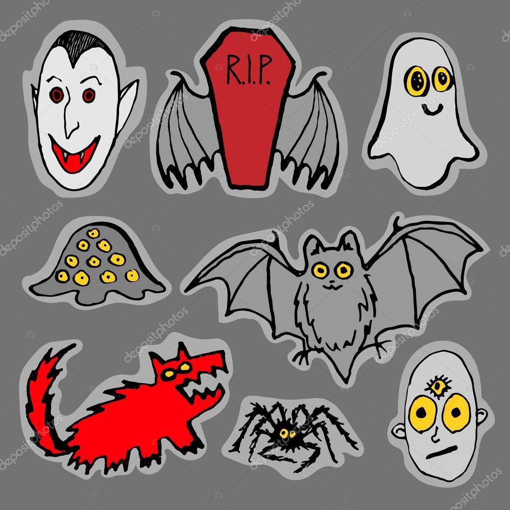 Monstres rigolos de halloween image vectorielle pinana - Images de monstres rigolos ...