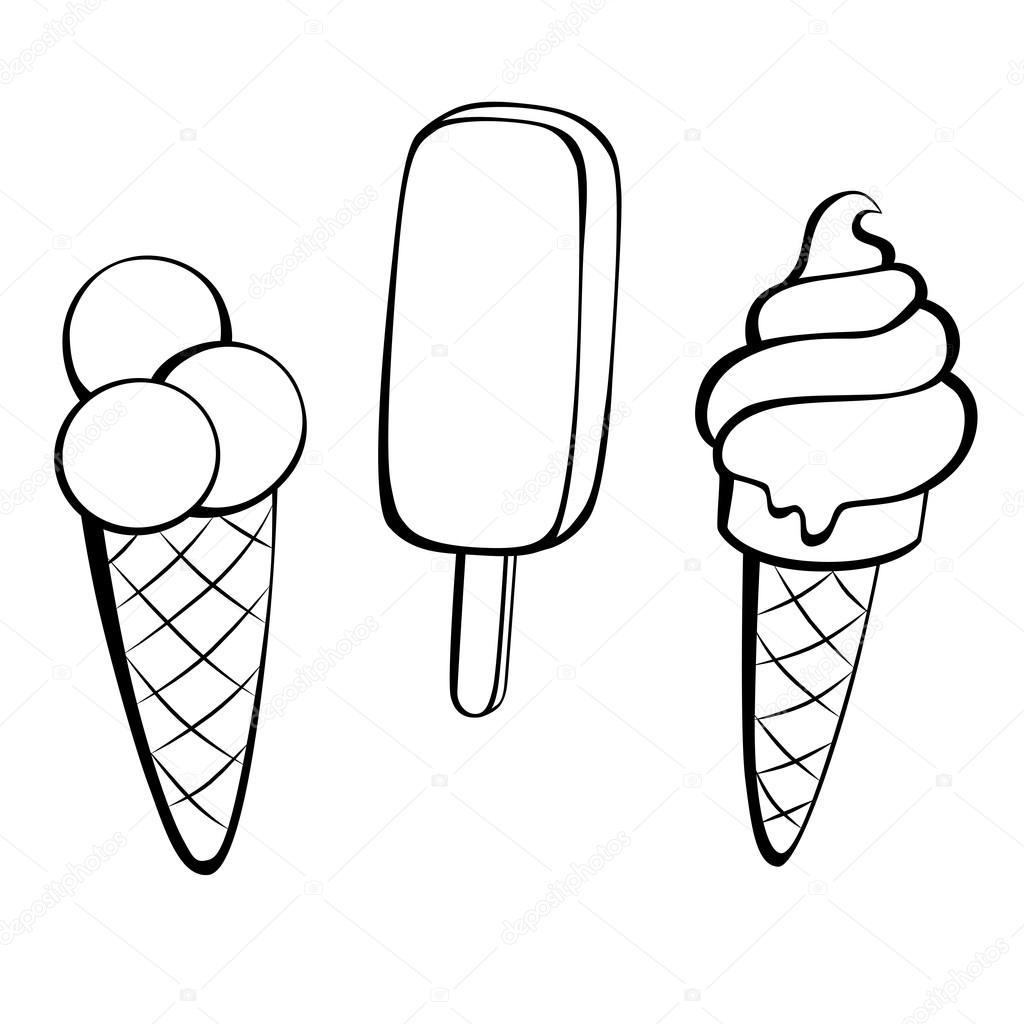 Ice cream black white sweet food isolated illustration