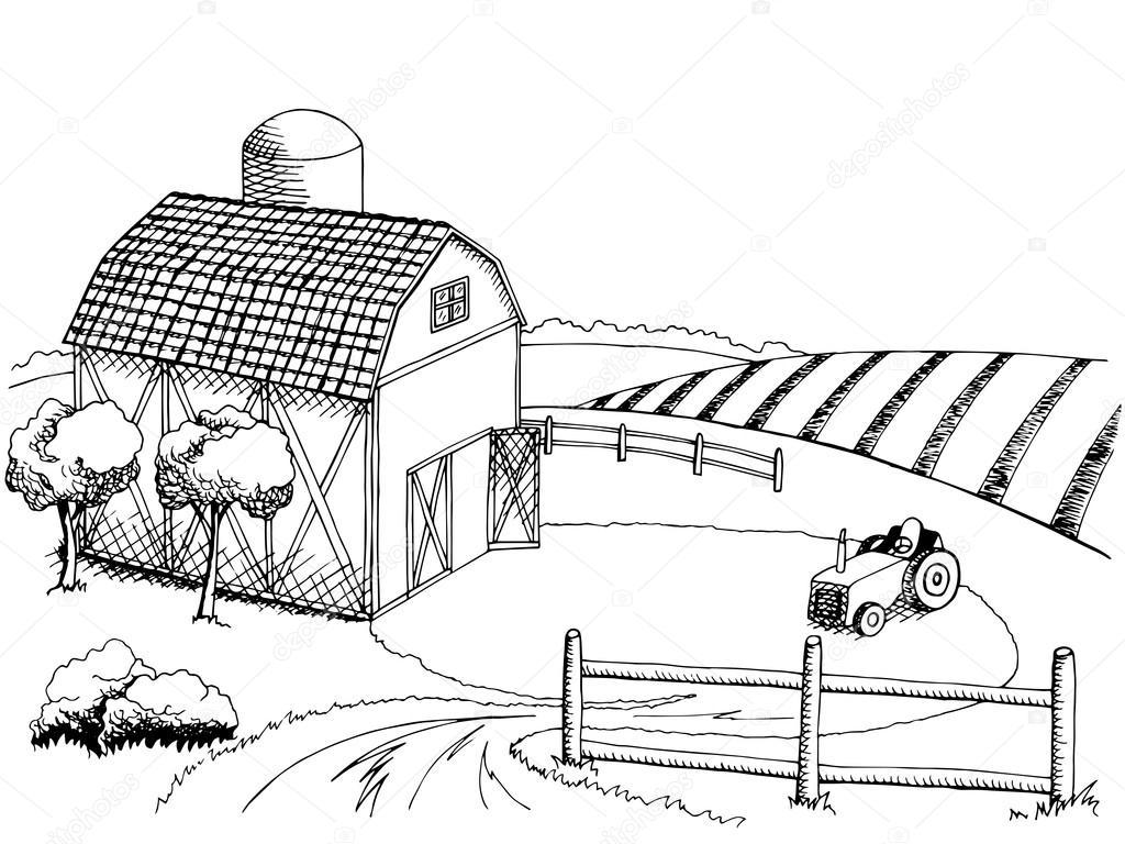 farm field graphic art black white landscape illustration