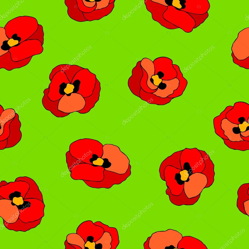 Poppy Flower Red Green Graphic Art Color Seamless Pattern