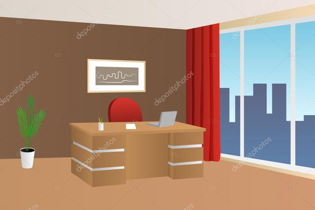 Bureau chambre beige brun rouge intérieur table chaise fenêtre ...