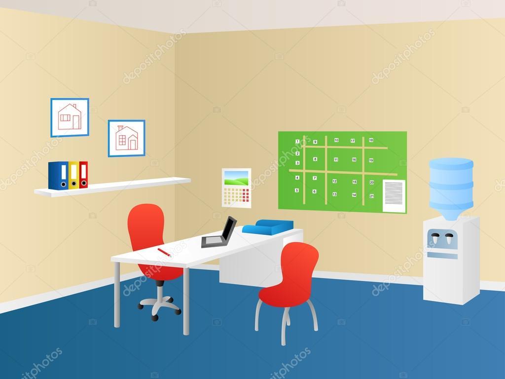 Immobilien Agentur Büro Raum innen Tisch Stuhl Illustration Vektor ...