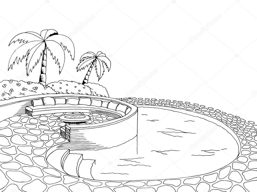 Swimming Pool Graphic Art Black White Illustration Vector Stock