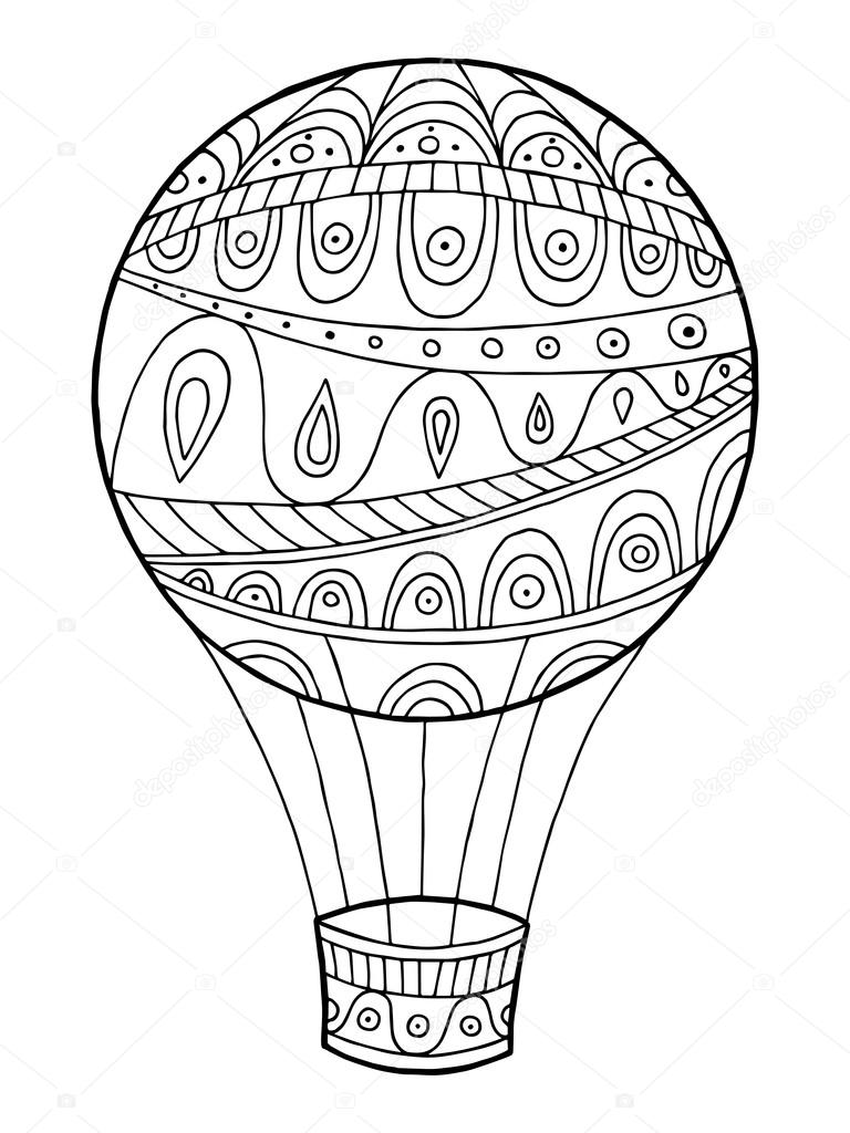 Air balloon pattern abstract graphic art black white doodle ...