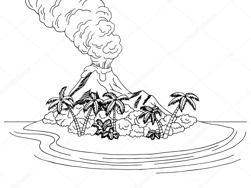 Depositphotos Stock Illustration Volcano Island Mountain Sea Graphic Photo Pencil Drawings