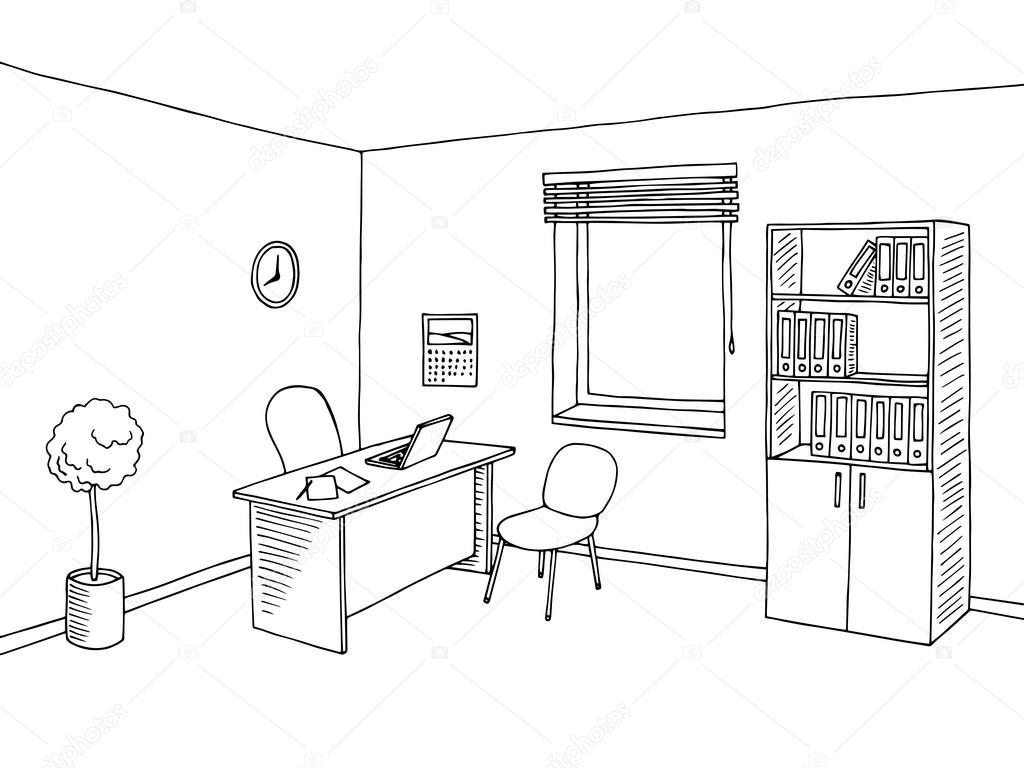 Vector De Ilustraci 243 N De Oficina Habitaci 243 N Interior Arte