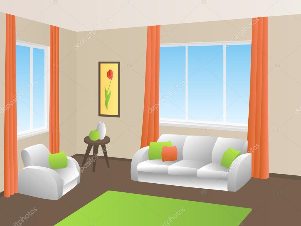 Wohnzimmer Innenraum grün orange gelb weißen Sofa Sessel Fenster ...
