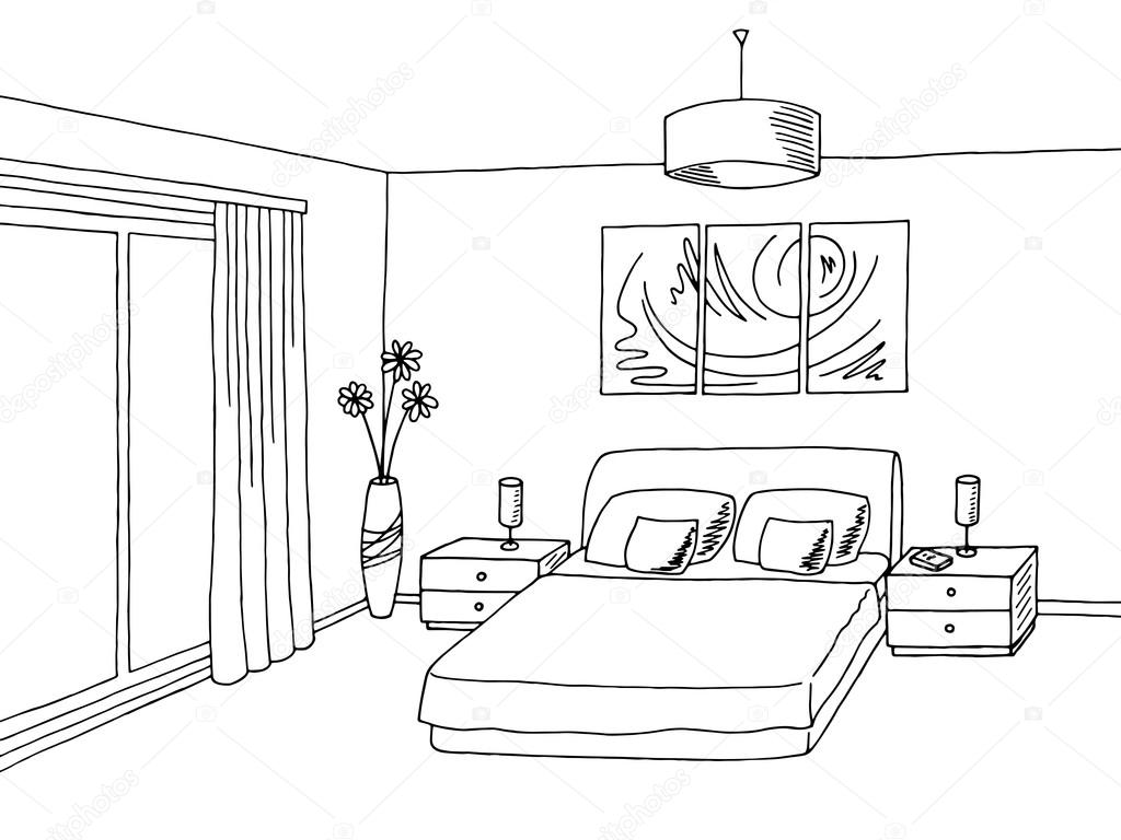 Bedroom Black White Graphic Art Interior Sketch Illustration Vector Stock Vector Aluna11