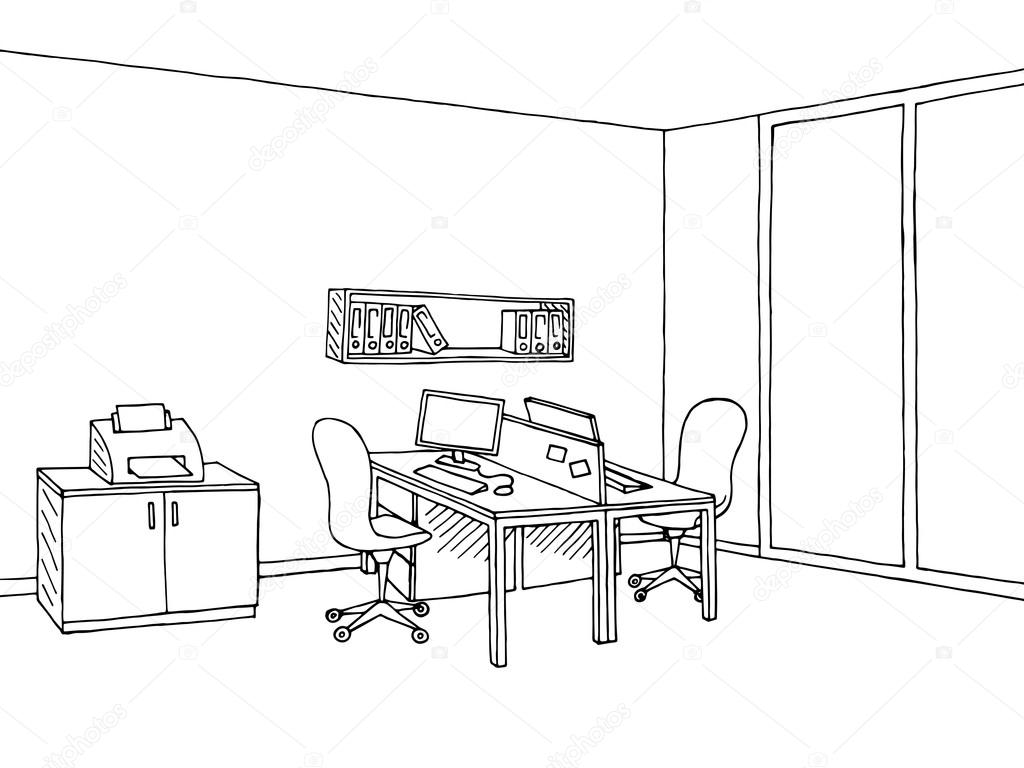 Vector De Ilustración De Oficina Arte Gráfico Negro Dibujo Blanco