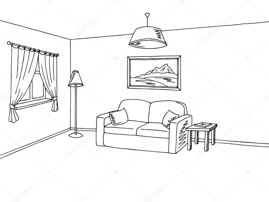 Living room interior black white sketch illustration vector — Stock ...