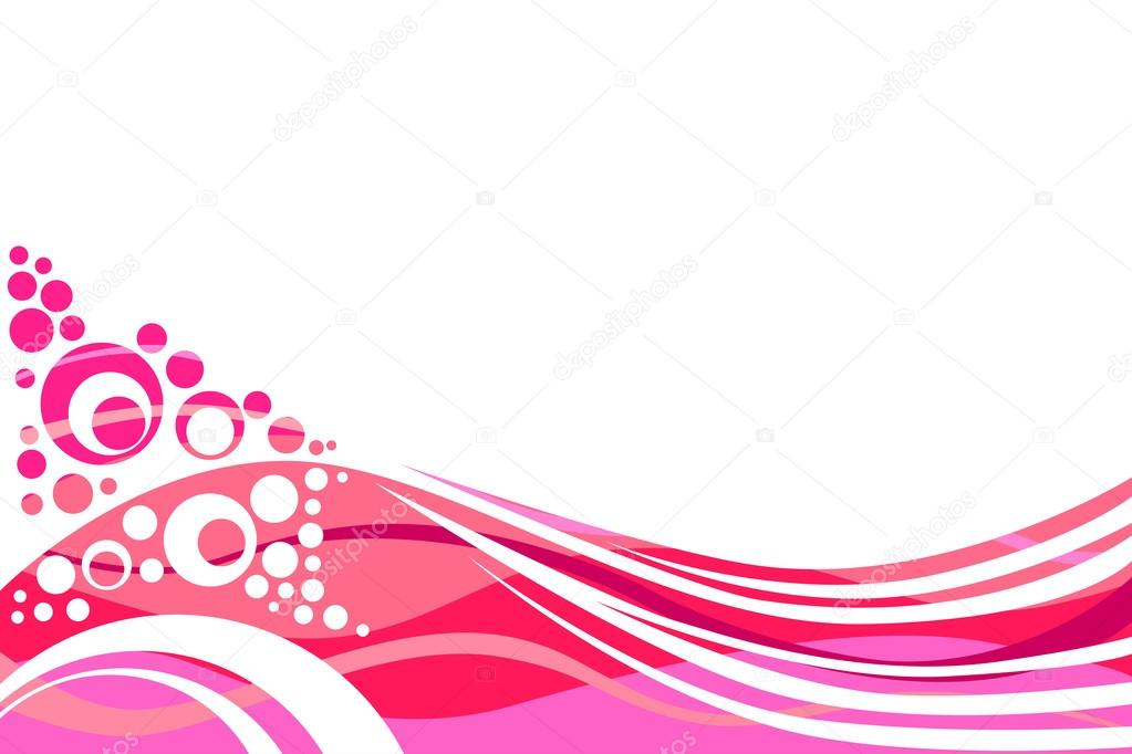 Pink and red lines and circles abstract background vector