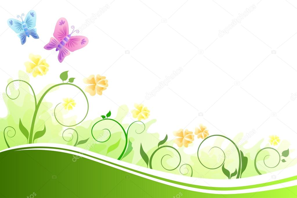 Background abstract flowers green and yellow flying blue and pink butterflies vector