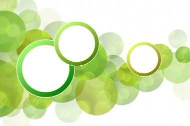 Background abstract green circles with round frame vector
