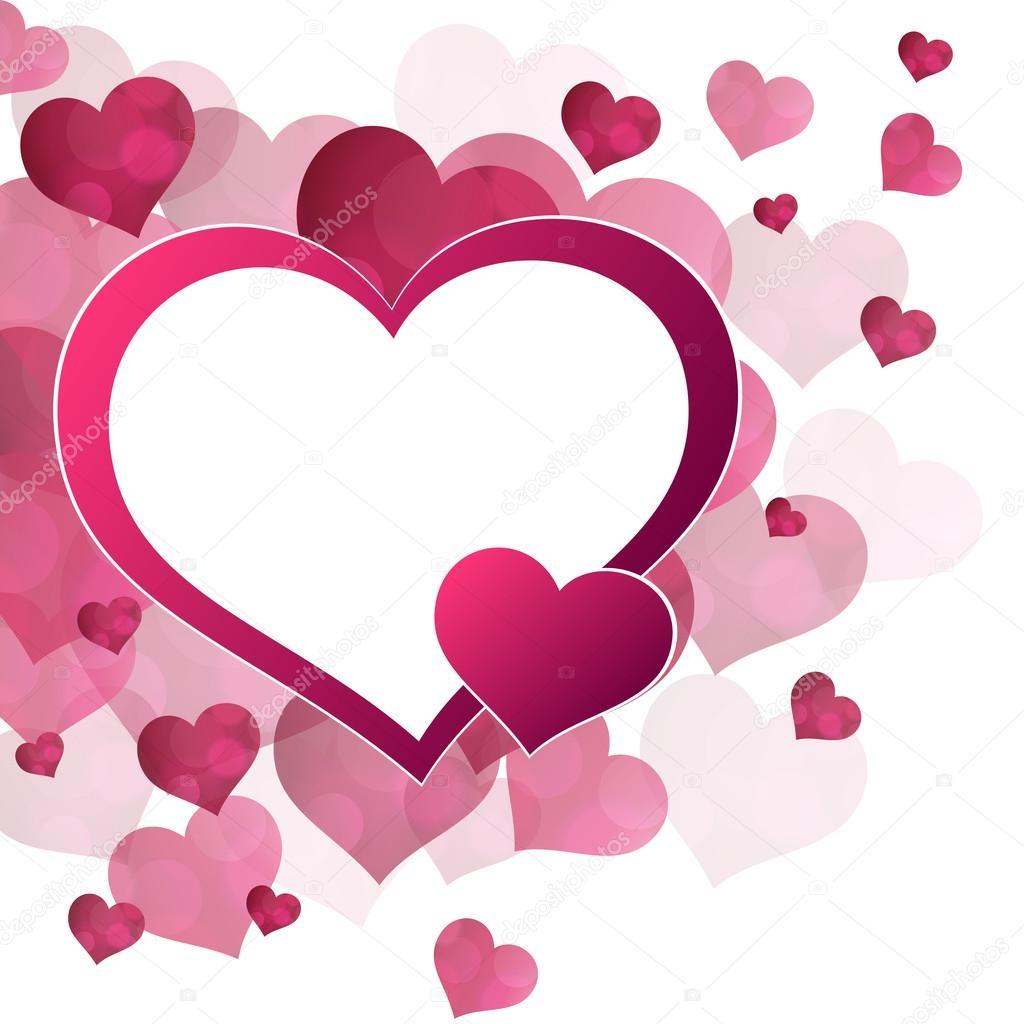 vector de fondo abstracto rojo corazones rosas marco vector de stock