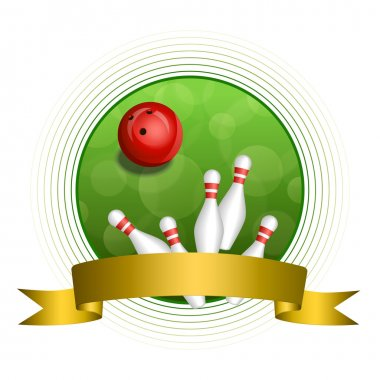 Background abstract green bowling red ball gold ribbon circle frame vector