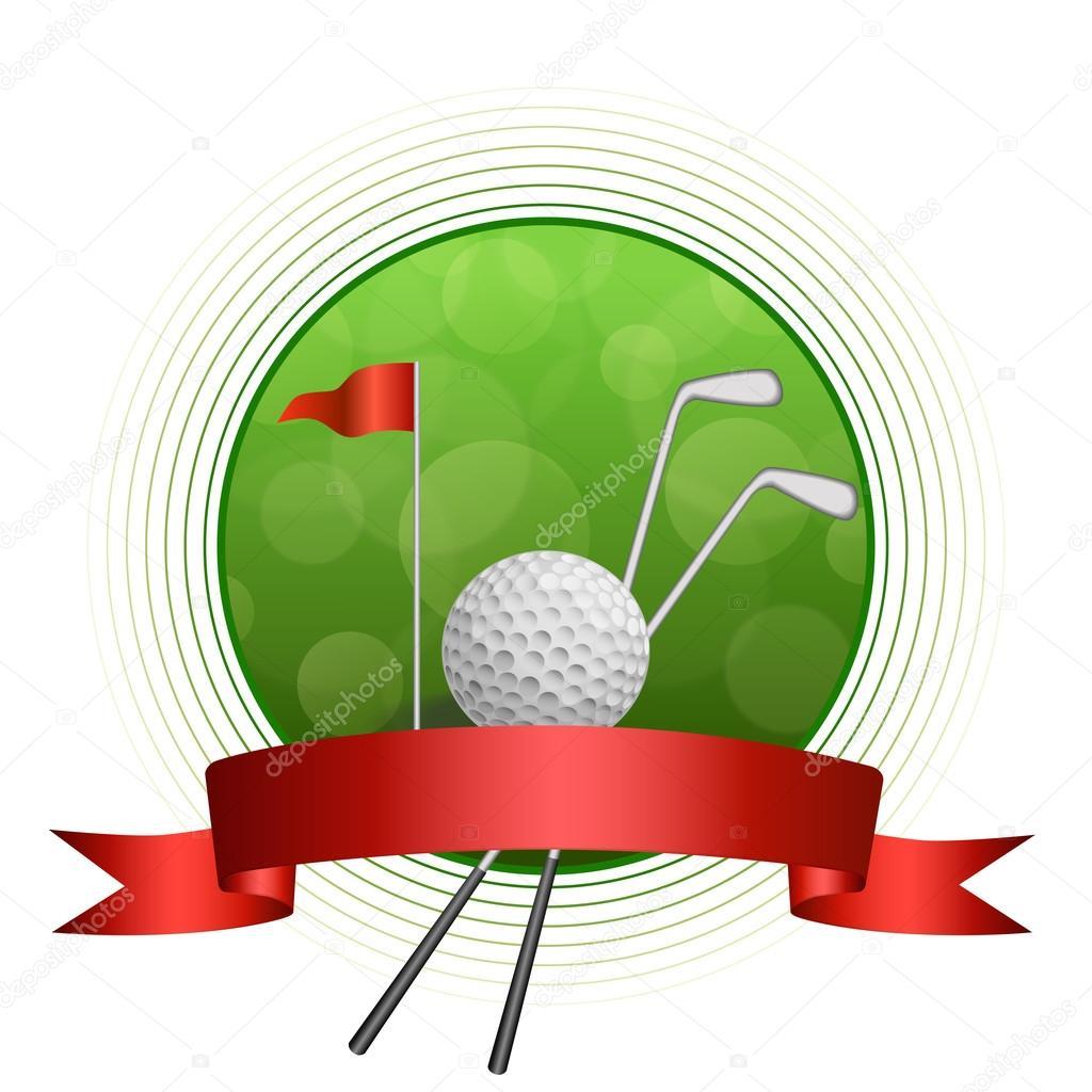 Fondo abstracto verde golf deporte bola blanca club círculo marco ...