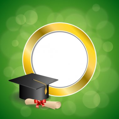Background abstract green education graduation cap diploma red bow gold circle frame illustration vector