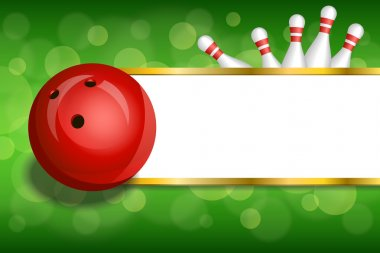Background abstract green gold stripes bowling red ball frame illustration vector