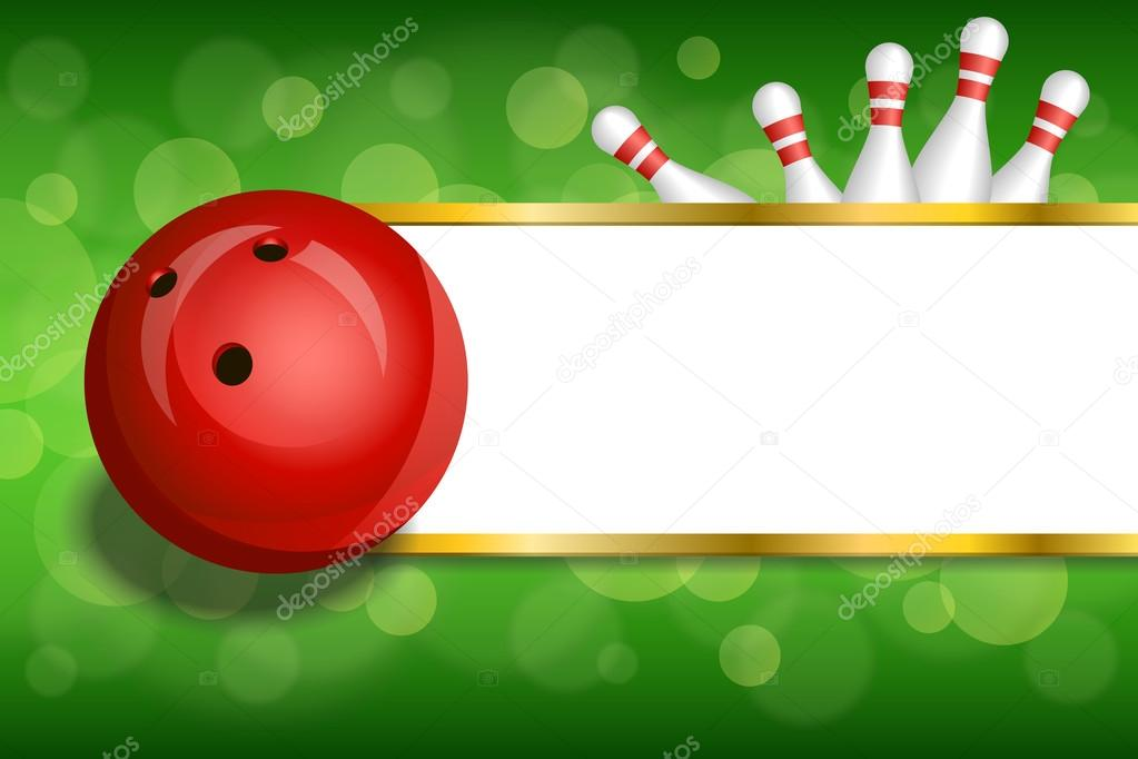 Background abstract green gold stripes bowling red ball frame ...