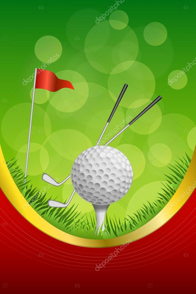 Fondo abstracto verde golf deporte bola blanca bandera roja club ...