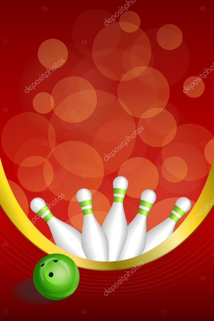 Background abstract red bowling green ball frame vertical gold ...